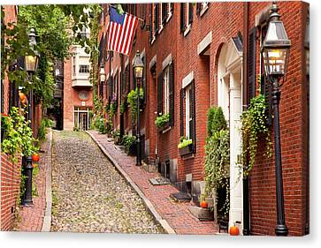 Famous Acorn Street In Beacon Hill Canvas Print by Brian Jannsen