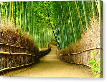 Famous Bamboo Grove At Arashiyama Canvas Print by Lanjee Chee