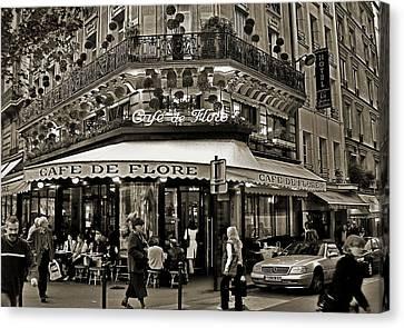 Famous Cafe De Flore - Paris Canvas Print by Carlos Alkmin