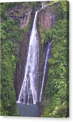 Famous Jurassic Park Waterfall Aerial Canvas Print by Kai Hyde