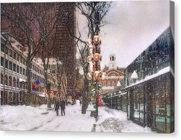 Faneuil Hall Winter Scene Canvas Print by Joann Vitali