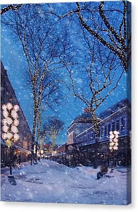 Faneuil Hall Winter Snow - Boston Canvas Print by Joann Vitali