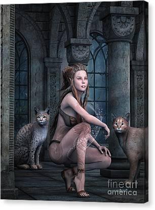 Fantasy Full Moon Night Canvas Print by Jutta Maria Pusl