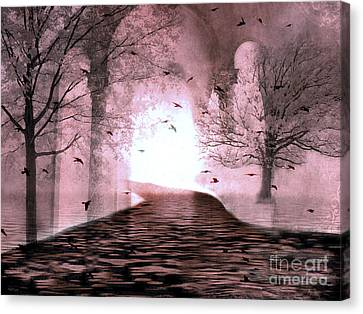 Fantasy Nature Trees - Haunting Surreal Path Trees And Birds Canvas Print by Kathy Fornal