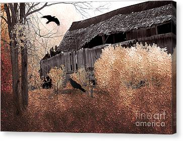 Fantasy Surreal Gothic Old Barn Scene With Birds And Ravens Canvas Print by Kathy Fornal