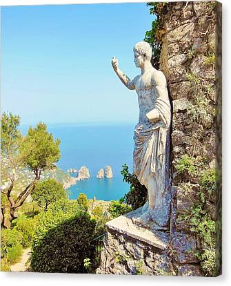 Faraglioni Rocks From Mt Solaro Capri Canvas Print by Marilyn Dunlap