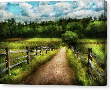 Farm - Fence - Every Journey Starts With A Path  Canvas Print by Mike Savad