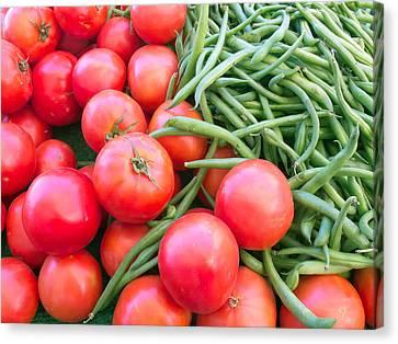 Farm Fresh Tomatoes And Beans Canvas Print by Ram Vasudev
