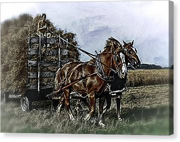 Farm Horses Pulling Wheat Load To Threasher Canvas Print by F Leblanc