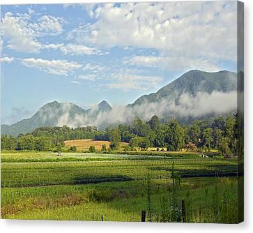 Farm In The Valley Canvas Print by Susan Leggett