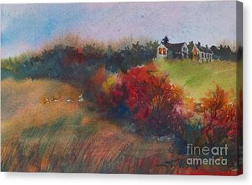 Farm On The Hill At Sunset Canvas Print by Joy Nichols