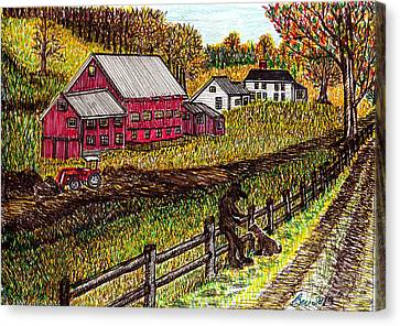 Farm Scene With Boy And Dog Canvas Print by Beverly Farrington
