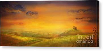 Farm With Crops - Original Painting Canvas Print by Mythja  Photography