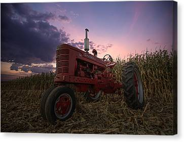 Farmall Sunset Canvas Print by Aaron J Groen