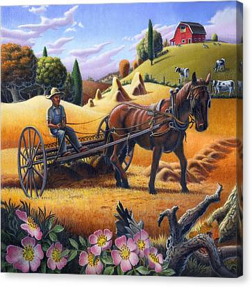 Farmer Raking The Hay Country Farm Life Landscape - Square Format Canvas Print by Walt Curlee