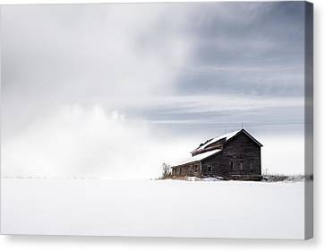Farmhouse - A Snowy Winter Landscape Canvas Print by Gary Heller