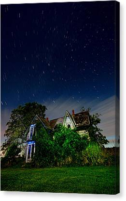 Farmhouse Star Trails.  Canvas Print by Cale Best