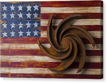 Farming Tool On American Flag Canvas Print by Garry Gay