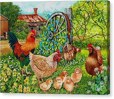 Farmyard Family Canvas Print by Val Stokes
