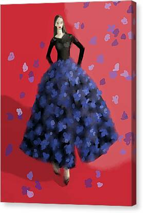 Fashion Illustration Art Print Black Gown With Blue Flowers Canvas Print by Beverly Brown Prints
