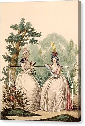 Fashion Plate Of Ladies In Summer Day Canvas Print by French School