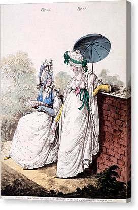 Fashion Plate Of Ladies Morning Dress Canvas Print by English School
