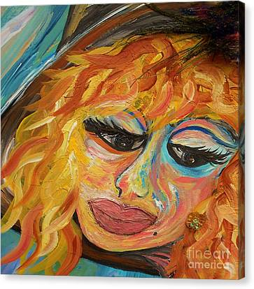 Fashionista - Mysterious Red Head Canvas Print by Eloise Schneider