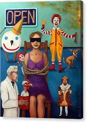 Fast Food Nightmare 3 Canvas Print by Leah Saulnier The Painting Maniac