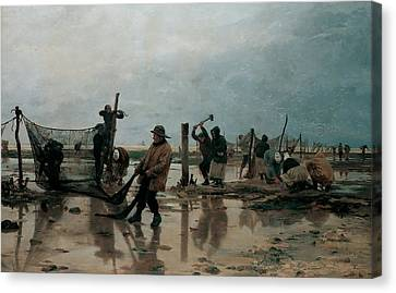Fastening The Nets Canvas Print by Edouard Joseph  Dantan
