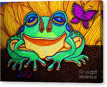 Fat Green Frog On A Sunflower Canvas Print by Nick Gustafson