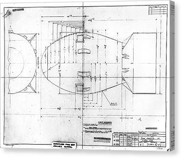 Fat Man Atomic Bomb Blueprint Canvas Print by Los Alamos National Laboratory