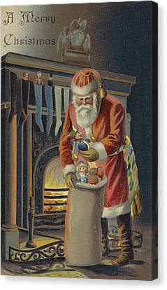 Father Christmas Filling Children's Stockings Canvas Print by English School