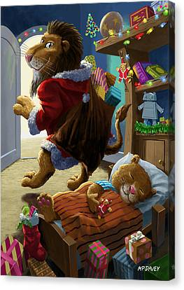 Father Christmas Lion Delivering Presents Canvas Print by Martin Davey