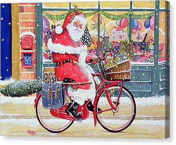 Father Christmas On A Bicycle Wc Canvas Print by Tony Todd