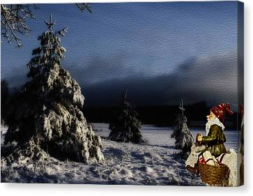 father Christmas riding a goat in a winter landscape Canvas Print by Christian Lagereek