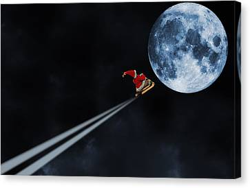 father-Christmas Santa riding on a sleigh Canvas Print by Christian Lagereek