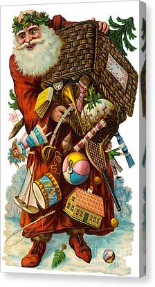 Father Christmas With Presents Canvas Print by Mary Evans