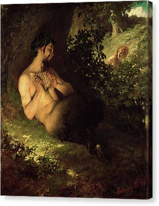 Faun And Nymph, 1868 Oil On Canvas Canvas Print by Pal Szinyei Merse