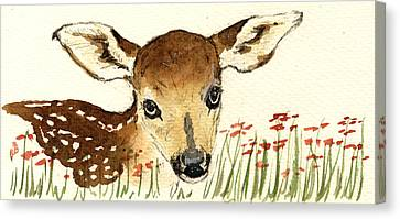 Fawn In The Flowers Canvas Print by Juan  Bosco