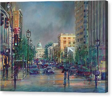 Fayetteville Street First Light Canvas Print by Dan Nelson