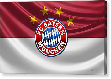 F C Bayern Munich - 3 D Badge Over Flag Canvas Print by Serge Averbukh