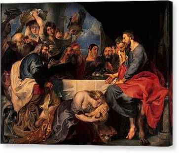 Feast In The House Of Simon The Pharisee, C.1620 Oil On Canvas Canvas Print by Peter Paul Rubens