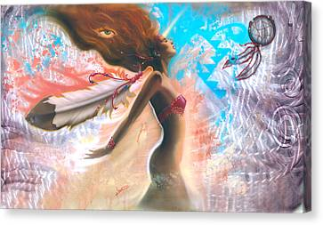 Feather Girl 1 Canvas Print by Luis  Navarro