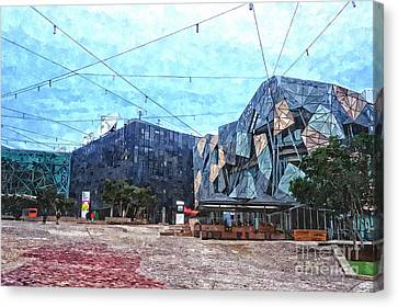 Federation Square In Melbourne Australia Canvas Print by Beverly Claire Kaiya