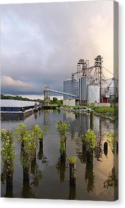 Feed Mill On The River Canvas Print by Francie Davis