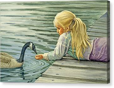 Feeding The Canada Goose Canvas Print by Paul Krapf