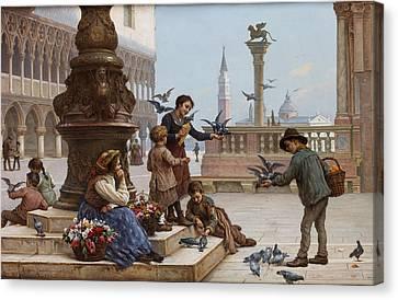 Feeding The Pigeons Canvas Print by Antonio Paoletti