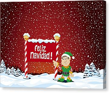 Feliz Navidad Sign Christmas Elf Winter Landscape Canvas Print by Frank Ramspott