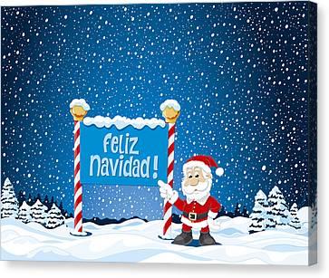 Feliz Navidad Sign Santa Claus Winter Landscape Canvas Print by Frank Ramspott