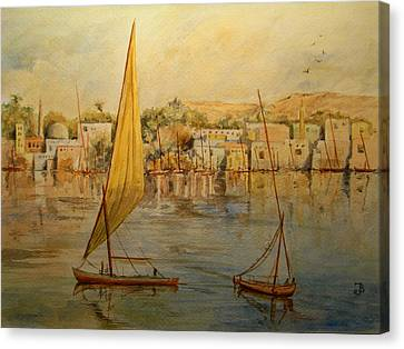 Feluccas At Aswan Egypt. Canvas Print by Juan  Bosco